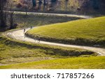 group of bikers on autumn road. ... | Shutterstock . vector #717857266