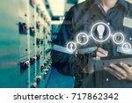 double exposure of engineer or... | Shutterstock . vector #717862342