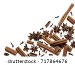 winter spices background.... | Shutterstock . vector #717864676