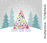 new year card 2018 | Shutterstock .eps vector #717865642