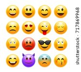 vector emoticons emoji set.... | Shutterstock .eps vector #717869968