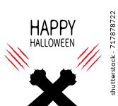 happy halloween. bloody claws... | Shutterstock . vector #717878722