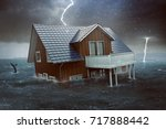 house sinks in high water  3d... | Shutterstock . vector #717888442