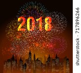 happy new year 2018 with... | Shutterstock .eps vector #717896266