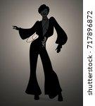 silhouette of girl dancing soul ... | Shutterstock .eps vector #717896872