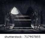 Dark Vampire Crypt With Candle...