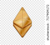 golden ethereum coin symbol... | Shutterstock .eps vector #717909172
