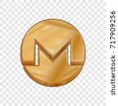 golden monero coin symbol... | Shutterstock .eps vector #717909256