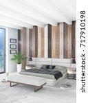 white bedroom minimal style... | Shutterstock . vector #717910198