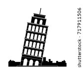 leaning tower of pisa icon   Shutterstock .eps vector #717911506