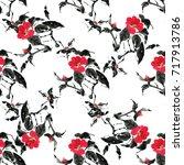seamless floral pattern... | Shutterstock . vector #717913786