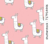 cute vector alpaca print | Shutterstock .eps vector #717914446