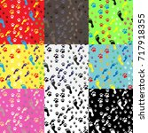 big set of seamless background... | Shutterstock .eps vector #717918355