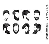 set of different faces with... | Shutterstock .eps vector #717926476