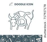 taurus constellation doodle | Shutterstock .eps vector #717927178