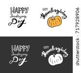 happy thanksgiving day. hand... | Shutterstock .eps vector #717928906