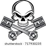 skull with crossing engine... | Shutterstock .eps vector #717930235