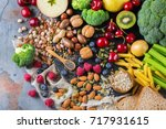 healthy balanced dieting... | Shutterstock . vector #717931615