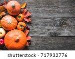 thanksgiving background ... | Shutterstock . vector #717932776