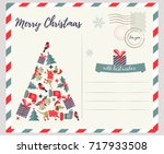 holiday greeting card with... | Shutterstock .eps vector #717933508