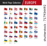 flags of europe  waving in the... | Shutterstock .eps vector #717934492