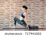asian women stretching and... | Shutterstock . vector #717941002