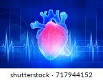 the human heart. digital...   Shutterstock . vector #717944152