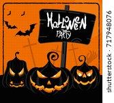 halloween party orange poster.... | Shutterstock .eps vector #717948076