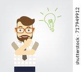 smart business man standing and ... | Shutterstock .eps vector #717949912