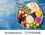 middle eastern meze platter...   Shutterstock . vector #717954448