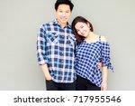 portrait happiness handsome man ...   Shutterstock . vector #717955546