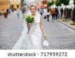 portrait of the bride on her... | Shutterstock . vector #717959272