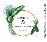 tropical summer leaves with... | Shutterstock . vector #717965968