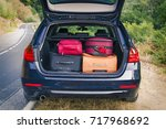 car with trunk loaded with...   Shutterstock . vector #717968692