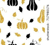 gold autumn pumpkins seamless... | Shutterstock .eps vector #717980176
