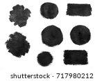 set of black paint  ink  grunge ... | Shutterstock . vector #717980212