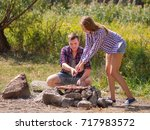 a sweet girl helps her... | Shutterstock . vector #717983572