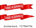 set of red horizontal ribbons... | Shutterstock .eps vector #717984796