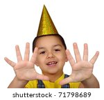 kid with birthday party hat holding up ten fingers, isolated on white background - stock photo