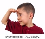 kid looking at a distance with eyes shaded, isolated on white background - stock photo