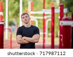 portait of gymnast after... | Shutterstock . vector #717987112
