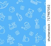 baby toys seamless pattern.... | Shutterstock .eps vector #717987352