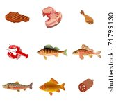 set of meat and fish food.... | Shutterstock .eps vector #71799130