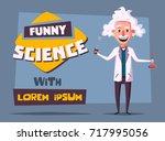 crazy old scientist. funny... | Shutterstock . vector #717995056