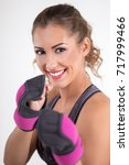 closeup of fitness woman with... | Shutterstock . vector #717999466