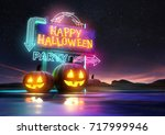 halloween party background... | Shutterstock . vector #717999946