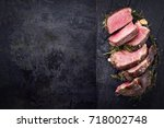 barbecue dry aged kobe rib eye... | Shutterstock . vector #718002748