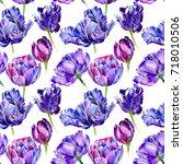wildflower tulip flower pattern ...   Shutterstock . vector #718010506