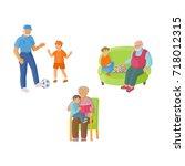 grandparent  grandfather... | Shutterstock .eps vector #718012315