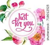 wildflower peonies flower frame ... | Shutterstock . vector #718012525